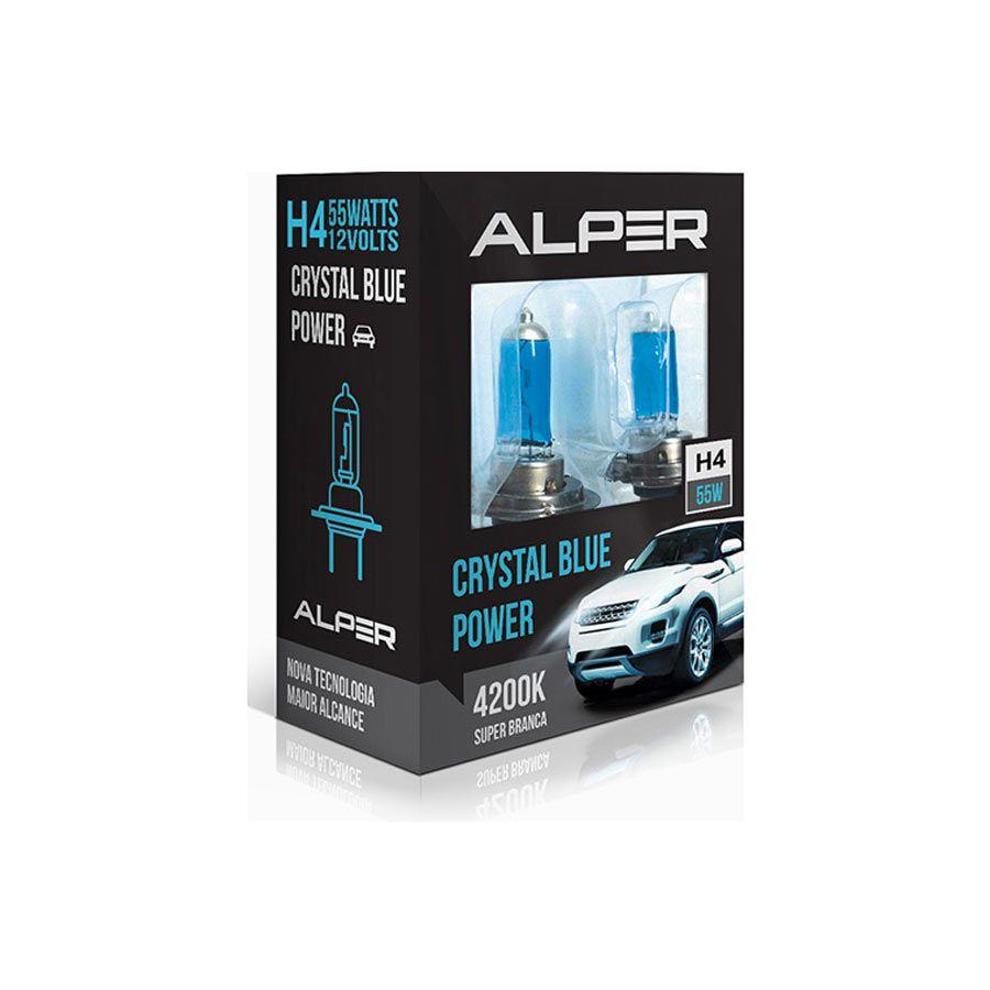 Lâmpada Super Branca Alper Chrystal Blue Power H4 60/55W