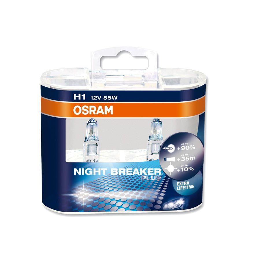 Lâmpada Super Branca Osram Night Breaker Plus H1 55W