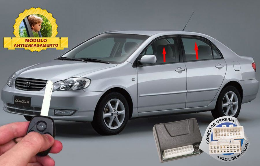 Módulo Subida Vidros Antiesmagamento Corolla 2003-2007 Tury Conector Original