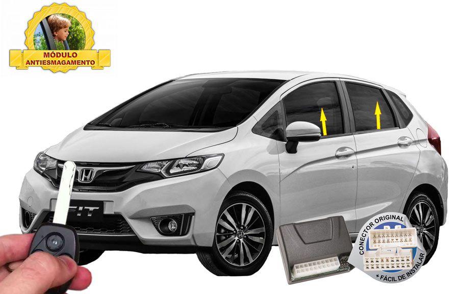 Módulo Subida Vidros Antiesmagamento Honda Fit 2015 em diante Tury Conector Original