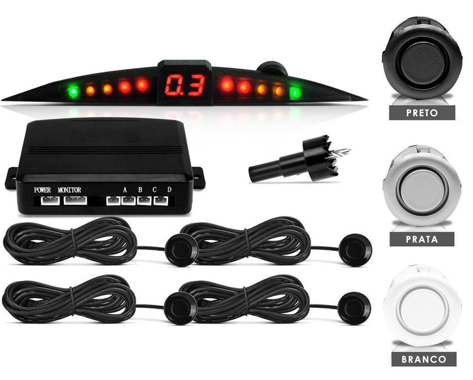 Sensor de Estacionamento (RÉ) com Sensores BRANCO