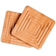 Apoio De Panela Em Madeira Bamboo Com 2 Pçs Mor