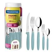 Faqueiro Tramontina Ipanema com Lâminas em Aço Inox e Cabos de Polipropileno com Pote Plástico 30 Peças - Várias Cores-ML