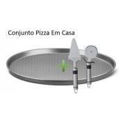 Forma Pizza n35 + Cortador E Espátula Para Pizza Caseira Oferta