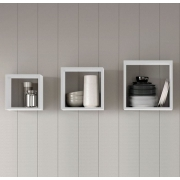Kit 3 nichos quadrados branco