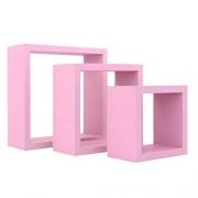 Kit 3 nichos quadrados rosa
