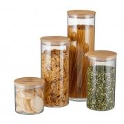 Kit Potes De Vidro Herméticos Tampa em Bambu 4 Unid. Electrolux-ML