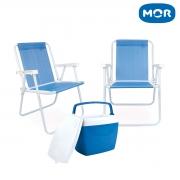 Kit Verão Mor 2 Cadeiras + 1 Caixa Térmica Cooler Azul