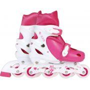 Patins Roller Infantil Rosa Tamanho M 34-37
