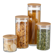 Kit Potes Herméticos Porta-Mantimentos com Tampa de Bambu Electrolux - 4 unidades