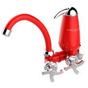 Torneira com Filtro Bica Movel Acquabios Vermelho Cromada - QS-ML