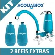 Torneira Filtro Bica Móvel Acquabios Azul + 2 Refis Extras