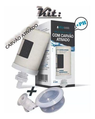 Kit 4 Vela Carvão Ativado Oasis + 4 Boia Dosadora Filtro De Água  - Pensou Filtros
