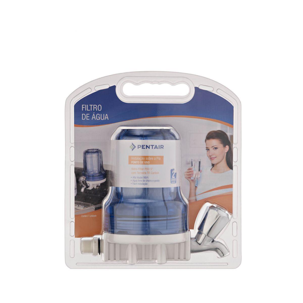 """Filtro Torneira Pentair Hidro Filter POU 5"""" - azul cristal  - Pensou Filtros"""