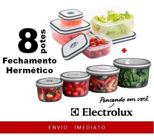 4 POTES DE PLÁSTICO REDONDO + 4 POTES DE PLÁSTICO QUADRADO ORIGINAL ELECTROLUX  - Pensou Filtros