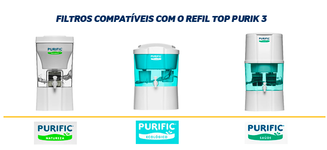 Filtro Refil TOP Purik 3 para Purificador de Água Purific  - Pensou Filtros