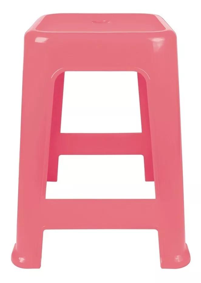 Banqueta Plástico Mor Rosa Claro  - Pensou Filtros