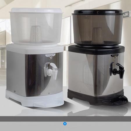 Bebedouro de Água com Filtro em Inox com Base De Barro e Suporte nas cores Preto/Branco Inox  - Pensou Filtros
