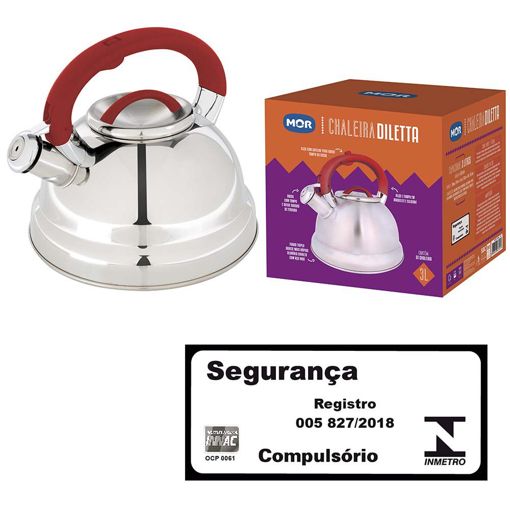 Chaleira Aço Inox 3 Litros Fundo Triplo Diletta Vermelha  - Pensou Filtros