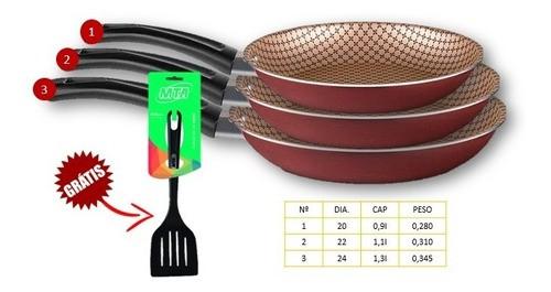 Conjunto 3 Frigideiras Francesa Antiaderente Cereja (Nº 1,2 e 3) + Brinde (Espátula MTA)  - Pensou Filtros