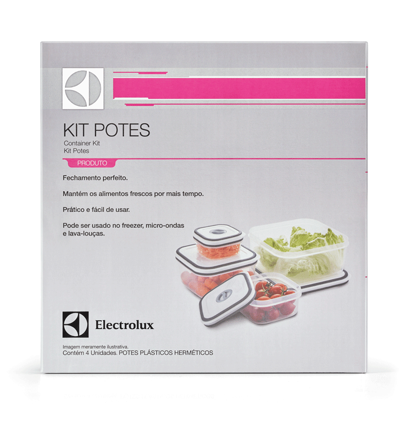 Conjunto de Potes Herméticos Electrolux com tampa - 4 Peças   - Pensou Filtros