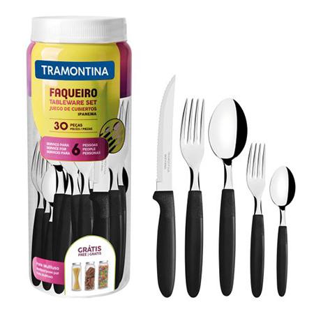 Faqueiro Tramontina Ipanema com Lâminas em Aço Inox e Cabos de Polipropileno com Pote Plástico 30 Peças - Várias Cores  - Pensou Filtros