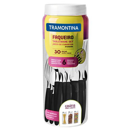 Faqueiro Tramontina Ipanema com Lâminas em Aço Inox e Cabos de Polipropileno PRETO com Pote Plástico 30 Peças  - Pensou Filtros