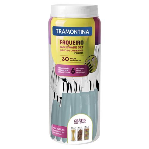 Faqueiro Tramontina Ipanema com Lâminas em Aço Inox e Cabos de Polipropileno VERDE com Pote Plástico 30 Peças  - Pensou Filtros