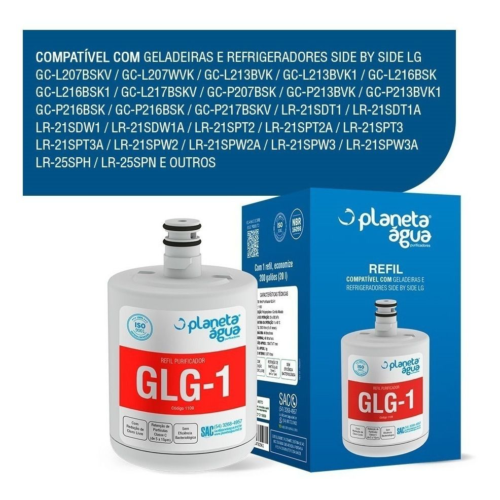 Filtro Refil Geladeira Refrigerador GLG-1   LG Lt500p  - Pensou Filtros