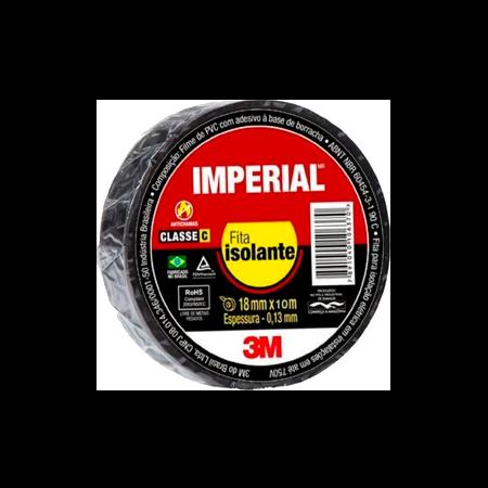 Fita Isolante Imperial - 3M Preta - 18mm x 10mm x 0,13 mm de espessura  - Pensou Filtros
