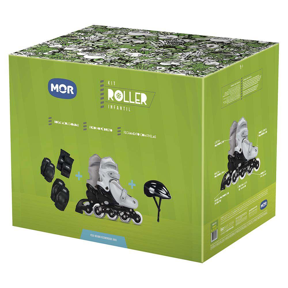 Kit Roller Cinza Tamanho M 34-37 (Roller, Joelheira e Capacete)  - Pensou Filtros