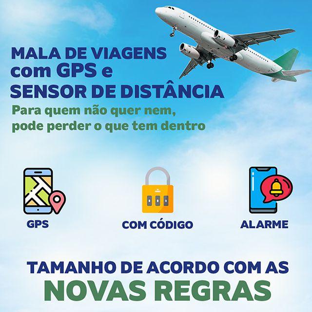 Mala de Viagem com Sistema Anti Furto Localizador Gps - Chumbo  - Pensou Filtros