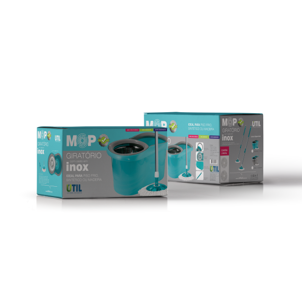 Mop Giratório da Util com cesto Inox - 6 litros com Esfregão - Não levanta pó  - Pensou Filtros