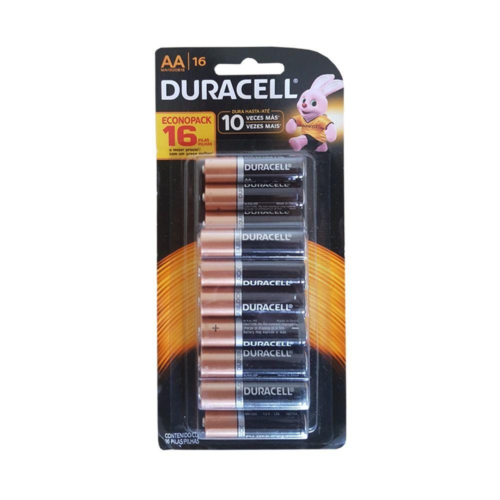 Pilha Duracell AA - Kit com 16 Unidades  - Pensou Filtros