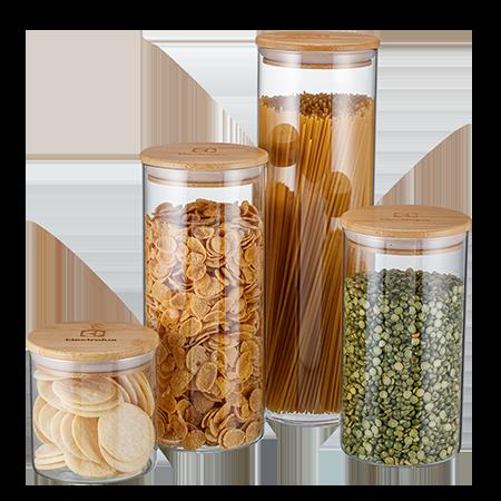 Kit Potes Herméticos Porta-Mantimentos com Tampa de Bambu Electrolux - 4 unidades  - Pensou Filtros