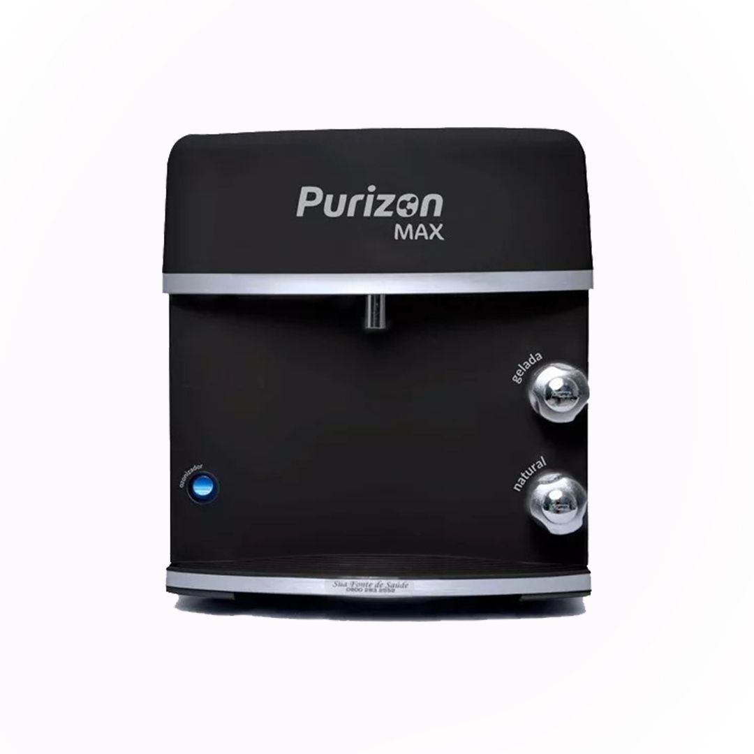 Purificador de Água Gelada Purizon Max Ozônio, Alcalino e Bacteriológico - Preto 127v  - Pensou Filtros
