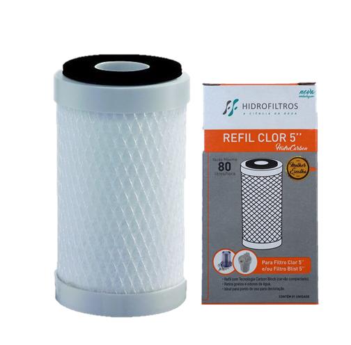 """Refil Carbon Block 5"""" (POU) Hidrofiltros  - Pensou Filtros"""