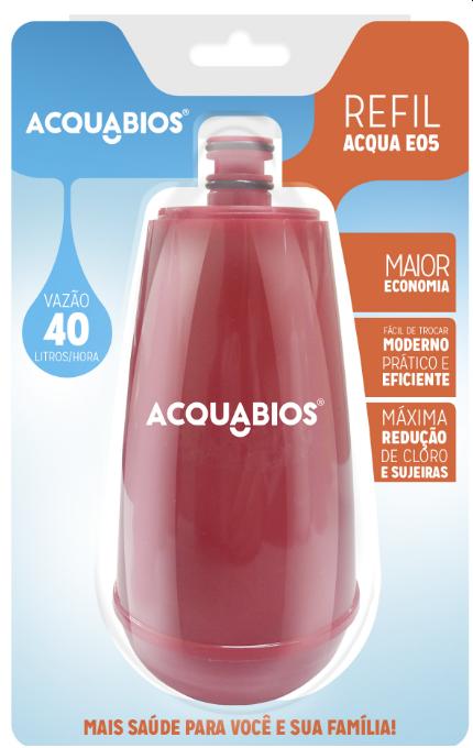 Refil para Torneira com Filtro Acquabios E05  Vermelho  - Pensou Filtros