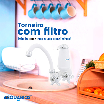 Torneira com Filtro Bica Movél Acquabios Branca Cromada - QS-ML  - Pensou Filtros