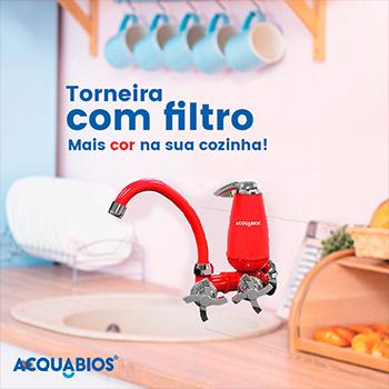Torneira com Filtro Bica Movel Acquabios Vermelho Cromada - QS-ML  - Pensou Filtros