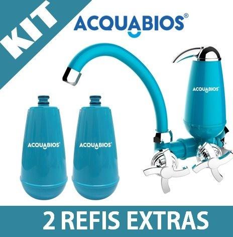 Torneira Filtro Bica Móvel Acquabios Azul + 2 Refis Extras  - Pensou Filtros
