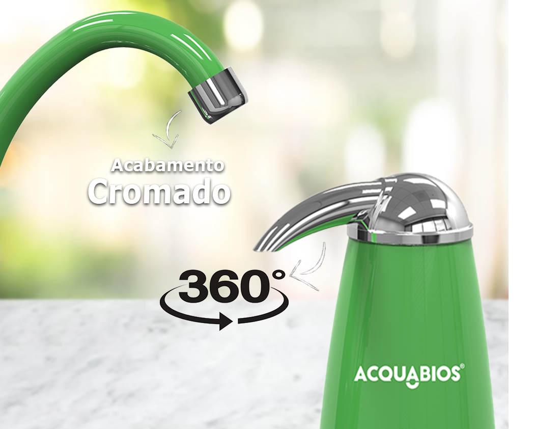 Torneira Bica Móvel com Filtro E05 Acquabios Verde Cromada - QS  - Pensou Filtros