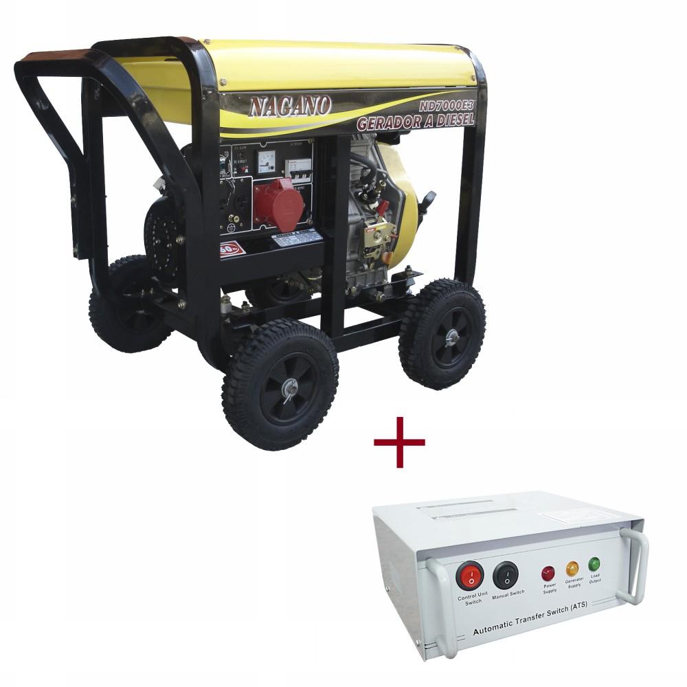 Gerador de energia a Diesel 220V Trifásico 6 KVA Partida Elétrica - ND7000E3QTA - Nagano