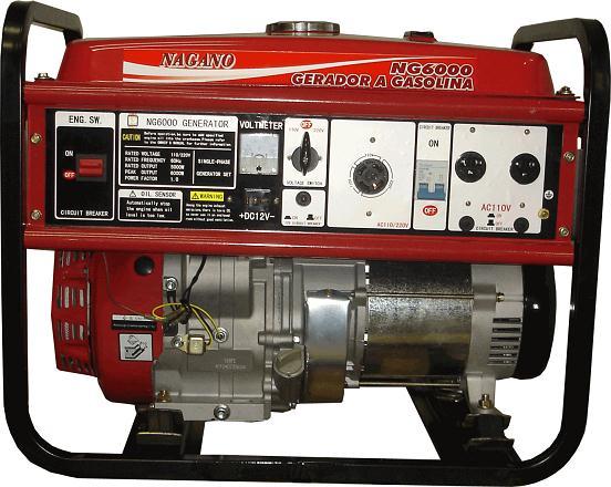 Gerador de energia a Gasolina 4 Tempos Monofásico 6 KVA Partida Manual - NG6000 - Nagano