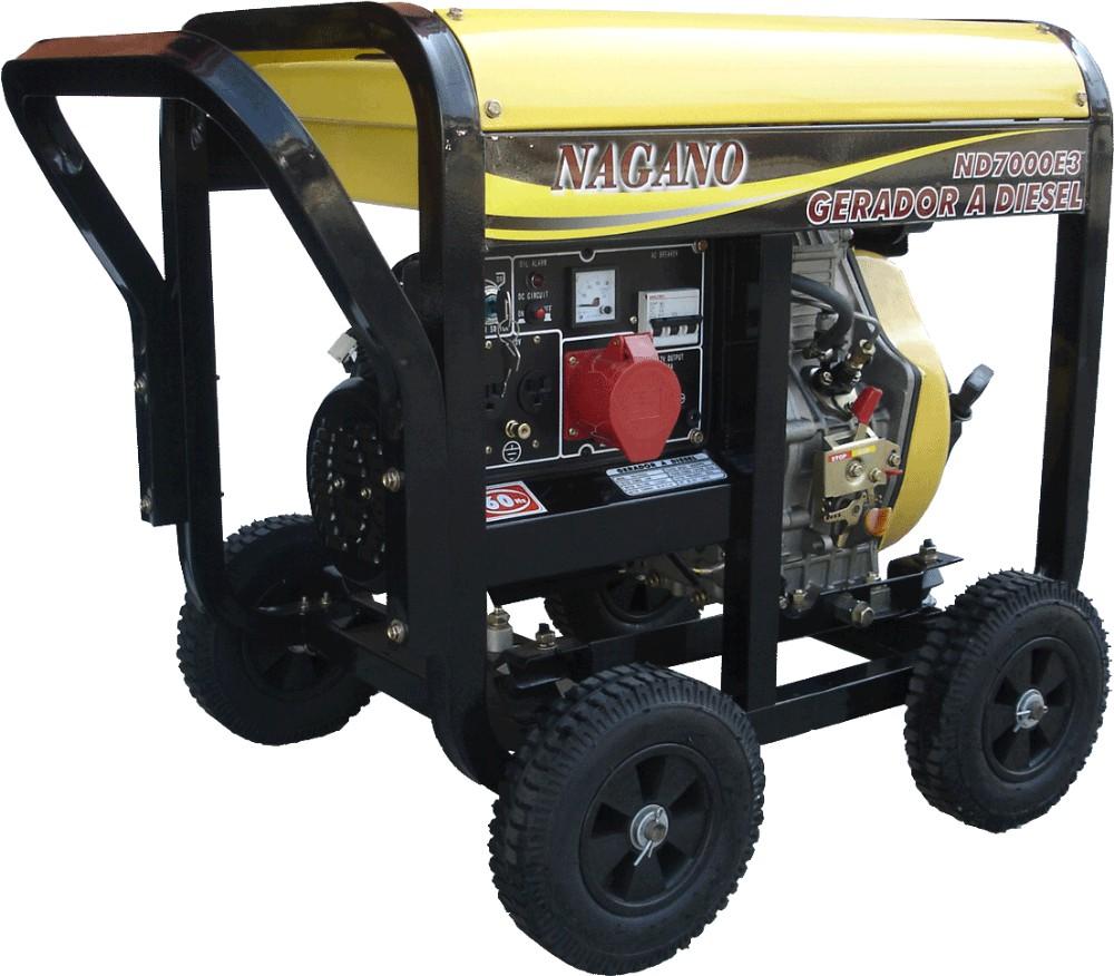 Gerador de energia a Diesel 380V Trifásico 6 KVA Partida Elétrica - ND7000E3D - Nagano