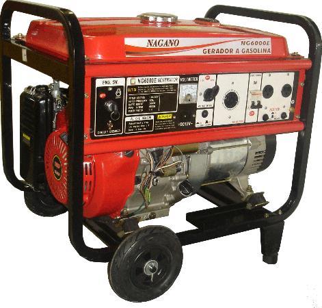Gerador de energia a Gasolina 4 Tempos Monofásico 6 KVA Partida Elétrica - NG6000E - Nagano