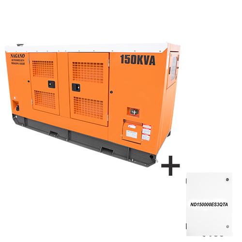 Gerador de energia a Diesel Trifásico 220V partida elétrica cabinado silenciado 150 kVA c/ QTA Nagano - ND150000ES3QTA