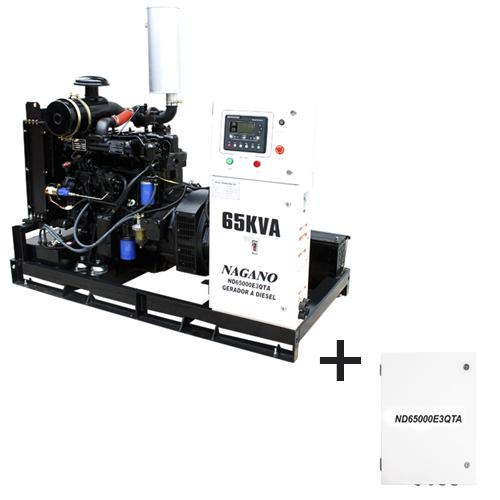 Gerador de energia a diesel 65 kVA trifásico 380V - partida elétrica Aberto c/ QTA Nagano - ND65000E3QTA
