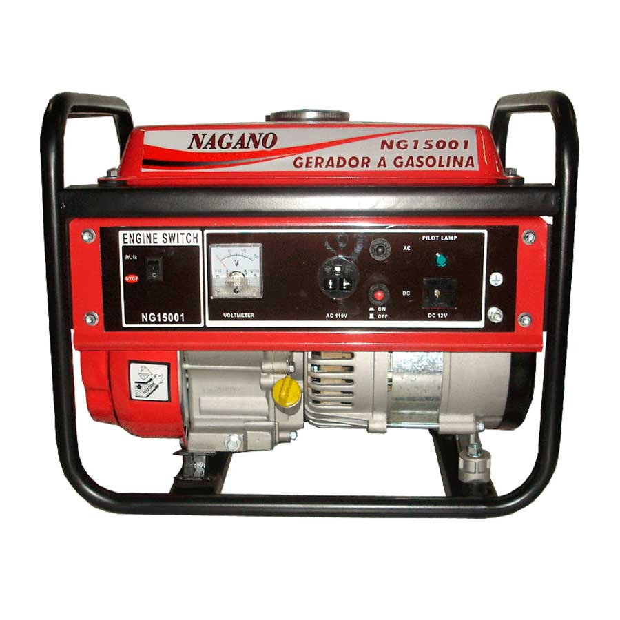 Gerador de energia a gasolina monofásico 1,2 kva partida manual - NG15001 - Nagano