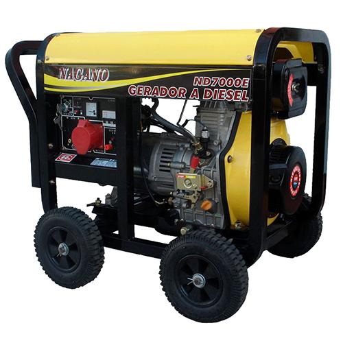 Gerador de energia a Diesel Monofásico 6 KVA Partida Elétrica - ND7000E - Nagano